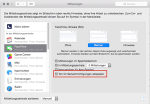 Option für Meldungstöne in Facetime