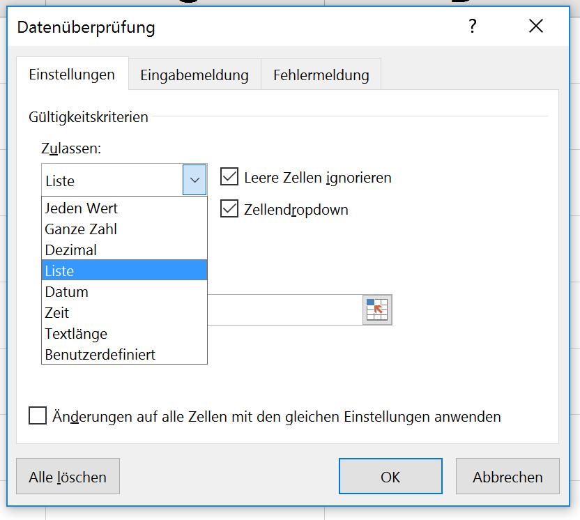 Excel dropdown menü erstellen