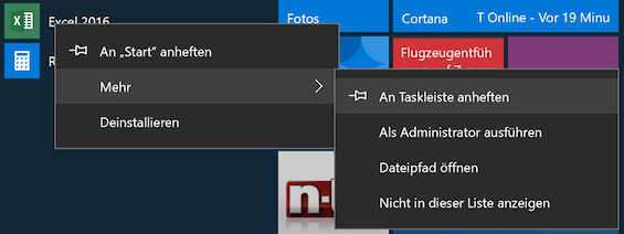 Windows 10 an Taskleiste anheften