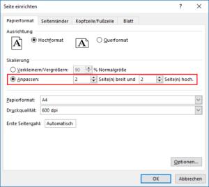 Excel - auf mehrere Druckseiten anpassen