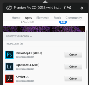 Im Installer der Adobe Creative Cloud findet man keine Option zum Deinstallieren von Programmen.