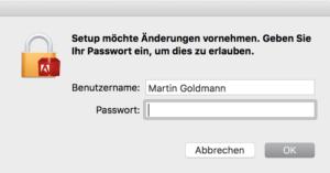 Zum Deinstallieren brauchen Sie das Admin-Kennwort Ihres Mac