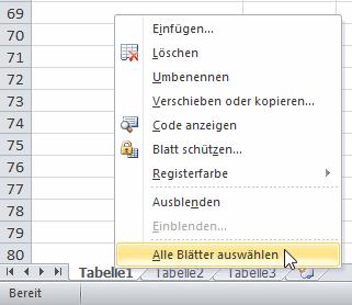 Excel - alle Arbeitsblätter auswählen