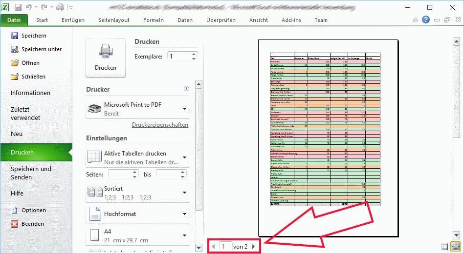 Papier sparen beim Ausdruck von Excel-Tabellen | Tippscout.de
