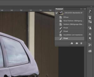In Photoshop können Sie Arbeitsschritte über das Protokollfenster rückgängig machen.