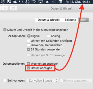 Mit einer einfachen Option lassen Sie das komplette Datum in der Menüleiste Ihres Mac anzeigen.