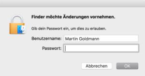 Um ein Programm zu entfernen müssen Sie in der Regel Ihr Admin-Kennwort eingeben.