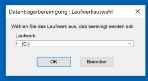 Windows fragt nach dem Laufwerk, dessen Systemdateien es bereinigen soll.