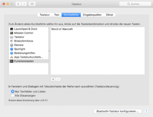 Systemeinstellungen mit Touchbar-Einstellungen