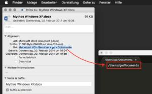 Den Dateipfad können Sie markieren und über die Zwischenablage in ein anderes Dokument einfügen.