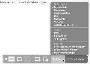 Das Programm Bildschirmfoto auf dem Mac