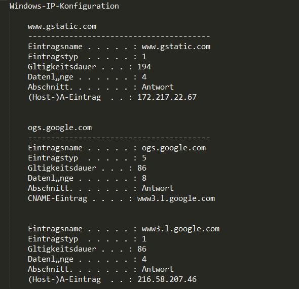 Windows DNS Cache Leeren Und Die Enthaltenen Server-Namen