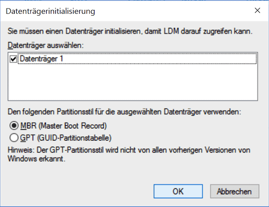 Datenträgerininitialisierung in Windows