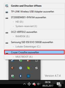 Liste von USB-Geräten für das Auswerfen.
