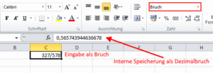 Bruchumwandlung in Excel