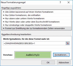 Excel Formatierung für einmalige Werte