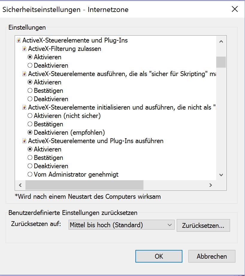 ActiveX deaktivieren in den Internetoptionen
