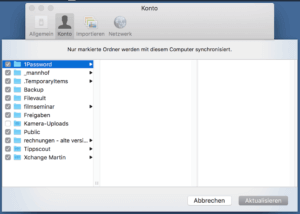 Dropbox-Ordner synchronisieren, einzelnes Verzeichnis ausschließen