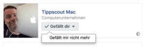 Gefällt mir entfernen in Facebook