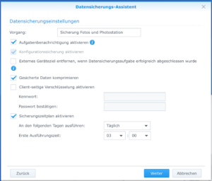 Synology Backup Datensicherugszeiten