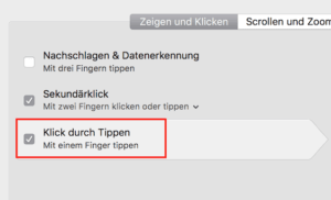 Macbook Tippen statt Klicken