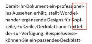 Trennstriche untereinander in einem Word Dokument.