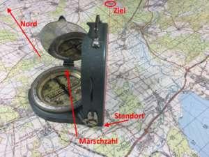 Marschzahl mit Kompass herausfinden