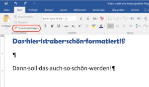 Formatierung kopieren mit dem Pinsel in Word