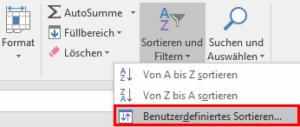 Excel - Benutzerdefiniertes Sortieren