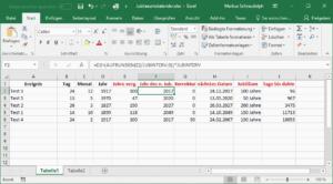 Excel Jubiläumskalender - Berechnung