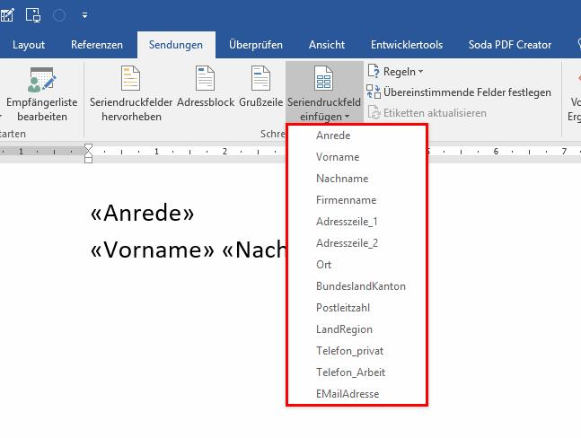 Word Serienbrief - Felder einfügen