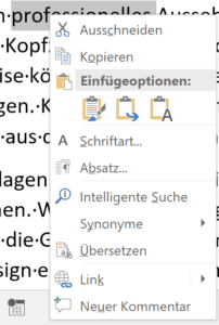 Kontextmenü in Word