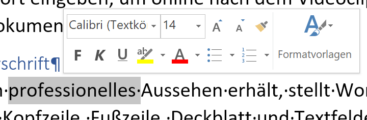 Minisymbolleiste in Word