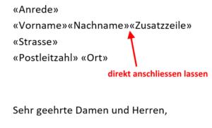 Word Serienbriefe - Leerzeile verhindern mit Regelassistent 1