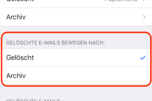 Mail löschen statt archivieren einstellen
