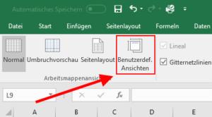 Excel - Benutzerdefinierte Ansichten