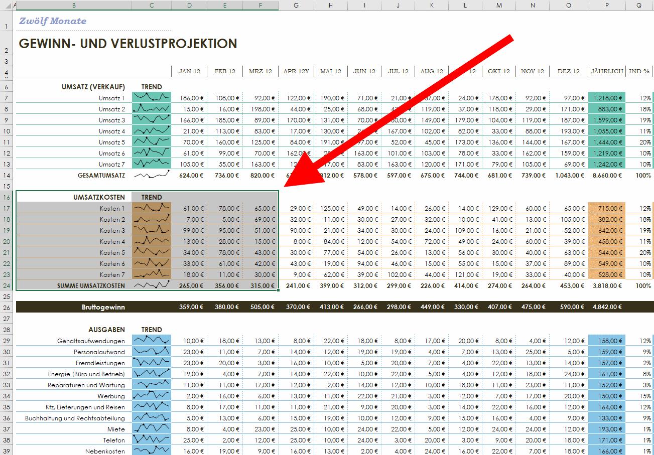 Excel - Bereich markieren