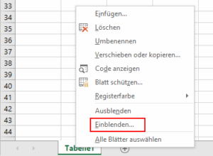 Excel - Register einblenden