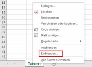 Excel - Register einblenden