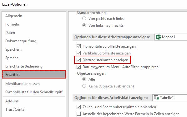 Excel-Register verschwunden? So können Sie sie wieder einblenden ...