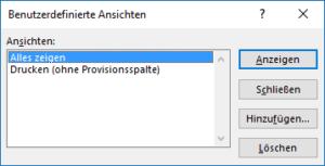 Excel - Verwaltung der Benutzerdefinierten Ansichten