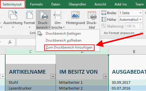Excel Druckbereich festlegen - Ausschnitt drucken   Tippscout.de