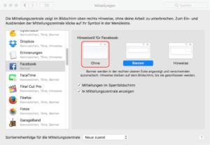 Auf dem Mac Facebook-Meldungen abschalten