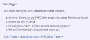 Fritzbox fortdert zur Bestaäigung auf