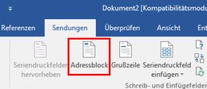 Schaltfläche Adressblock