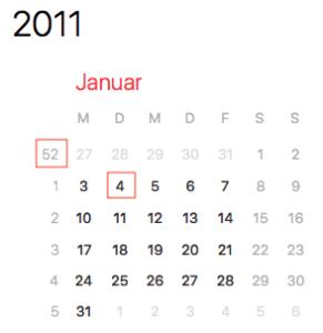 Die deutsche Kalenderwoche weicht von der amerikanischen ab.