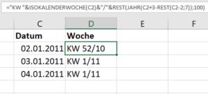 Kalenderwoche mit Jahreszahl in Excel