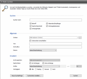 Mailstore - Erweiterte Suche