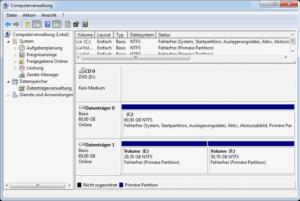 Mit der Datenträgerverwaltung können Sie Partitionen zusammenführen