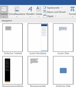 Word - Auswahl Textfelder